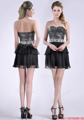 Cheap Sweetheart Black Short Christmas Party Dress in Sequins and Chiffon