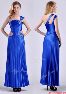 Discount Royal Blue Ankle Length Christmas Party Dress with Beading and Pleats
