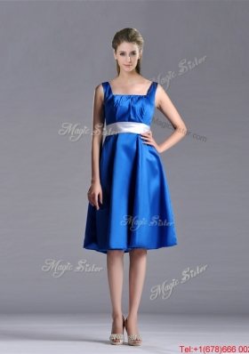 Exquisite Empire Square Taffeta Blue Christmas Party Dress with White Belt