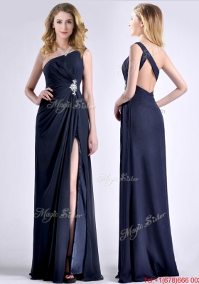Exquisite One Shoulder Navy Blue Christmas Party Dress with Beading and High Slit