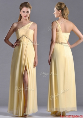 Exquisite One Shoulder Yellow Christmas Party Dress with Beading and High Slit