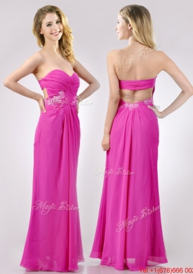 Fashionable Sweetheart Backless Beaded and Ruched Christmas Party Dress in Hot Pink