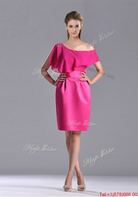 Latest Column One Shoulder Hot Pink Christmas Party Dress with Zipper Up