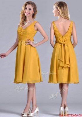 Latest Empire V Neck Ruched Gold Christmas Party Dress in Chiffon