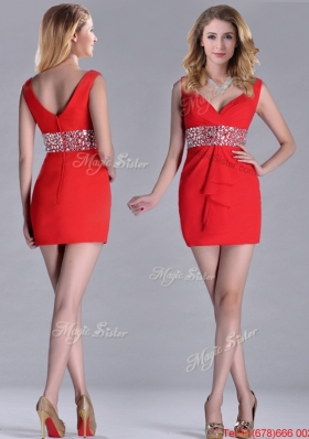 Lovely Beaded Decorated Waist V Neck Prom Dress in Red