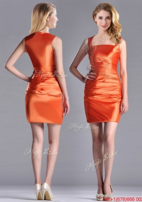 Lovely Column Square Side Zipper Short Christmas Party Dress in Orange Red