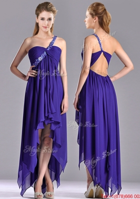 Lovely High Low One Shoulder Criss Cross Prom Dress with Beading
