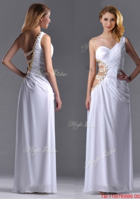 Lovely lCut Out Waist One Shoulder White Prom Dress with Beading