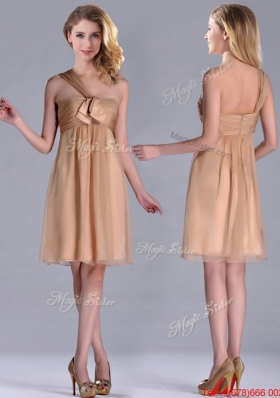 Lovely  One Shoulder Chiffon Short Prom Dress in Champagne