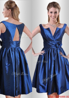 Lovely Open Back Hand Crafted Flower Prom Dress in Royal Blue