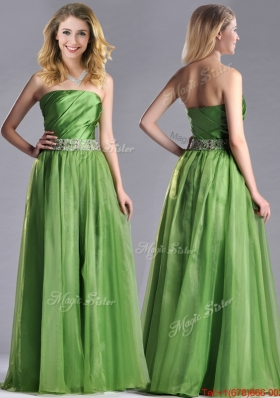 Lovely Strapless Beaded Decorated Waist Prom Dress with Side Zipper