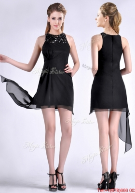 Modern Scoop Asymmetrical Black Chiffon Christmas Party Dress with Beading