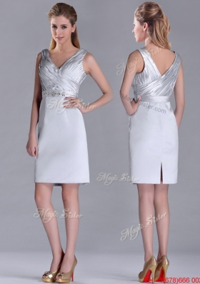 Modern V Neck Belted with Beading Christmas Party Dress in Silver