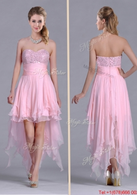 New Arrivals Beaded Bust High Low Chiffon Christmas Party Dress in Baby Pink