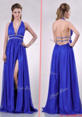 New Halter Top Blue Backless Christmas Party Dress with Beading and High Slit
