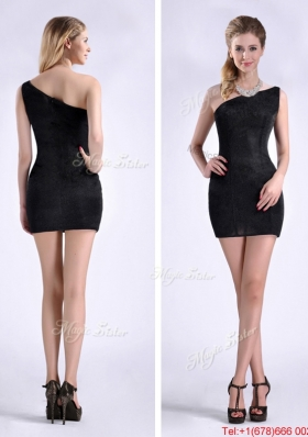 New Style Black One Shoulder Column Prom Dress with Zipper Up