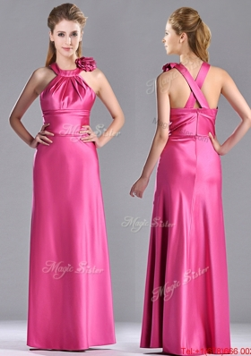 New Style Hand Crafted Flowers Hot Pink Prom Dress with Criss Cross