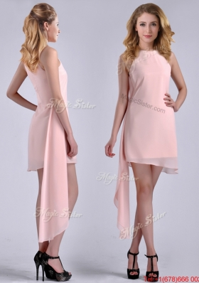 New Style Scoop Empire Chiffon Asymmetrical Christmas Party Prom Dress in Baby Pink