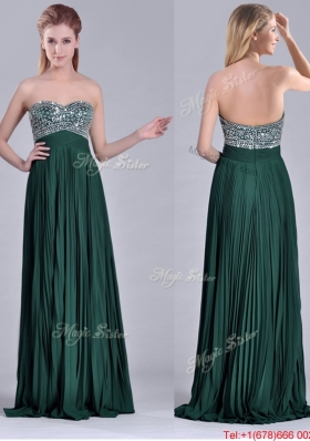 Popular Brush Train Beaded Bust and Pleated Christmas Party Dress in Hunter Green