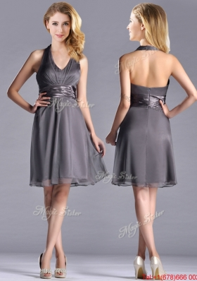 Romantic Chiffon Halter Top Knee Length Christmas Party Dress in Grey