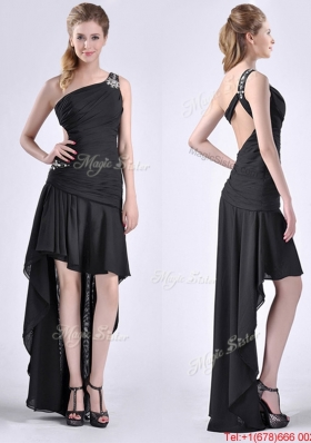 Romantic High Low One Shoulder Black Christmas Party Dress with Criss Cross