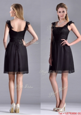 Simple Empire Square Chiffon Black Christmas Party Dress with Cap Sleeves