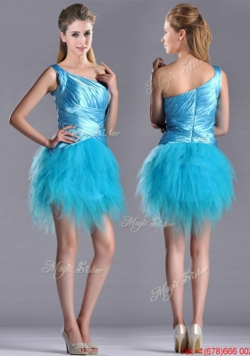 Wonderful One Shoulder Ruched and Ruffled Aqua Blue Christmas Party Dress in Tulle