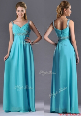 Beautiful Empire Aqua Blue Long Christmas Party Dress with Beading and Ruching