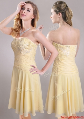 Elegant Applique Chiffon Yellow Short Christmas Party Dress with Side Zipper