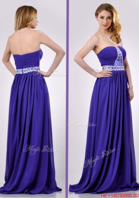 Empire Strapless Beaded Purple Long Christmas Party Dress for Evening