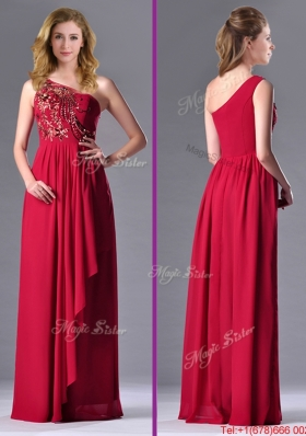 Fashionable Empire One Shoulder Sequins Red Christmas Party Dress with Side Zipper