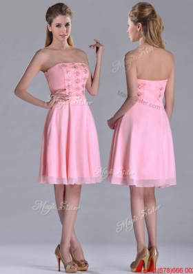 Latest Side Zipper Strapless Pink Short Christmas Party Dress with Beaded Bodice