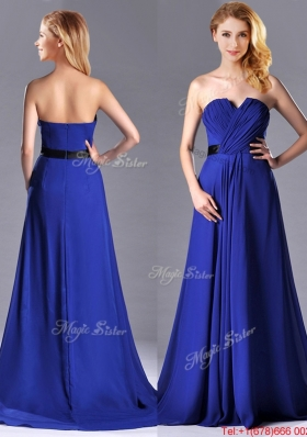 Luxurious Empire Chiffon Royal Blue Christmas Party Dress with Brush Train
