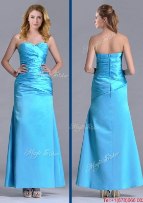 New Arrivals Sweetheart Aqua Blue Ankle Length Christmas Party Dress in Taffeta