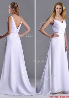 Popular Straps White Chiffon Christmas Party Dress with Brush Train