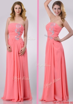 Watermelon Empire Strapless Chiffon Beading Long Christmas Party Dress for Graduatio
