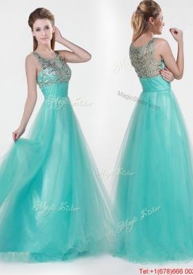 2016 Lovely Empire Scoop Beading Prom Dresses