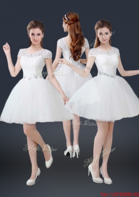 2016 Luxurious Mini Length Short Sleeves Beading Prom Dresses