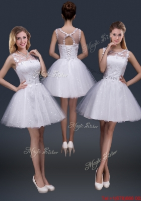 2016 Pretty Short Scoop Appliques Prom Dresses in White