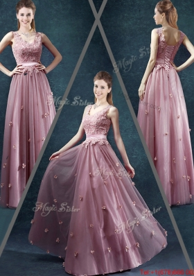 Classical V Neck Prom Dresses with Appliques and Belt