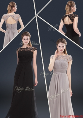 Elegant Empire Cap Sleeves Beading and Ruching Prom Dresses