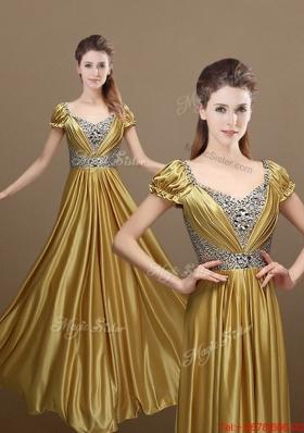 Elegant Empire Short Sleeves Beading Prom Dresses for 2016