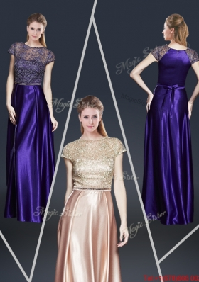 Empire Bateau Prom Dresses with Appliques and Belt