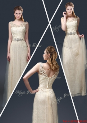 Empire Lace Prom Dresses with Appliques in Champagne