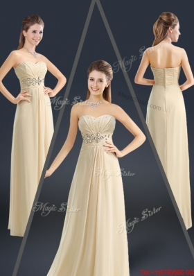 Latest Sweetheart Beading Prom Dresses in Champagne