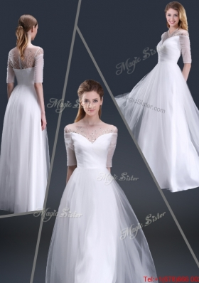 Popular Off the Shoulder Half Sleeves Prom Dresses with Beading