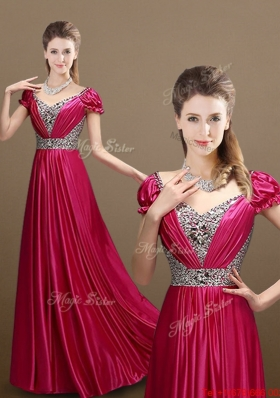 Pretty Empire V Neck Beading Prom Dresses with Short Sleeves