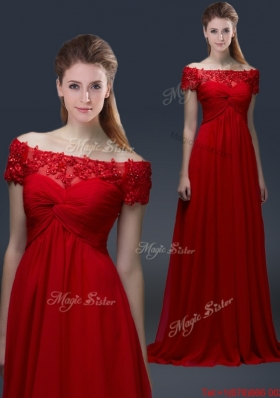 Simple Off the Shoulder Short Sleeves Red Prom Dresses with Appliques
