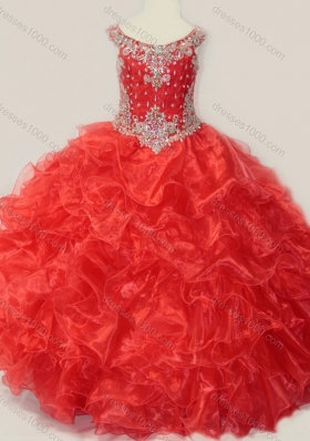 Beautiful Beaded and Ruffled OrganzaMini Quinceanera Dress in Red