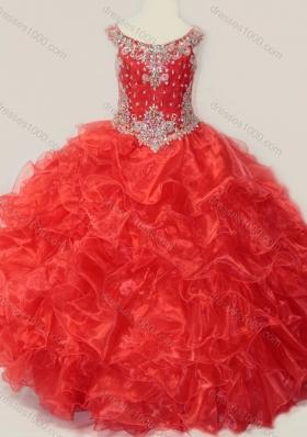 Beautiful Beaded and Ruffled OrganzaMini Quinceanera Dress in Red